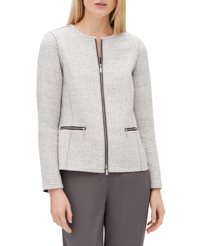 Kerrington Long-Sleeve Zip-Front Trestle Weave Jacket
