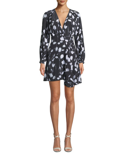 Alexandria V-Neck Long-Sleeve Abstract Floral-Print Short Dress