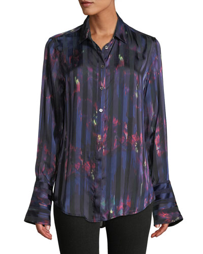 Eleonore Button-Front Abstract Striped Silk-Viscose Blouse
