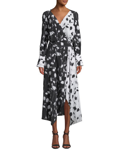 Neema Long-Sleeve Abstract Floral-Print Long Wrap Dress