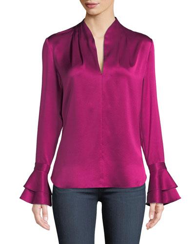 849965a2f32573 Judith Long-Sleeve Silk Blouse w/ Tiered Cuffs