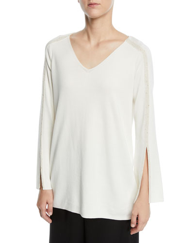 Metallic-Trim V-Neck Tunic