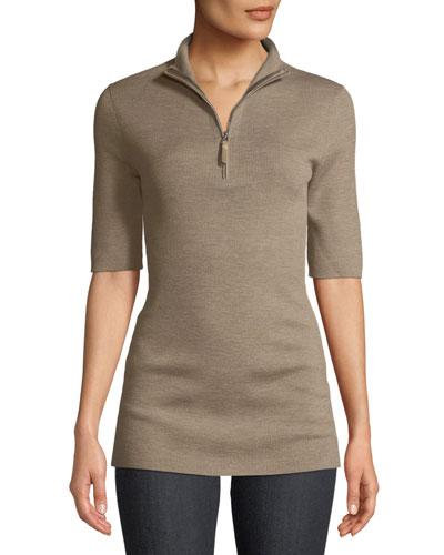 Half-Sleeve Rib-Knit Sweater
