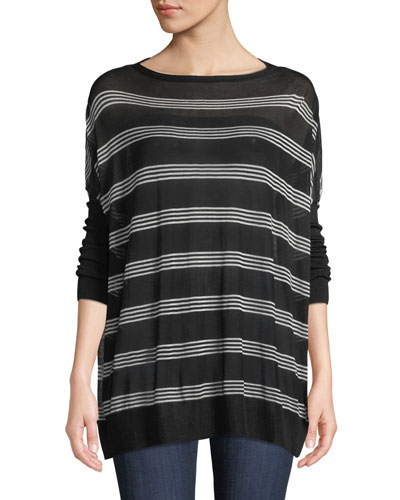 Oversized Voile Pullover Sweater