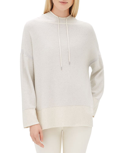 Sequin Long-Sleeve Luxe Silk Pullover Hoodie