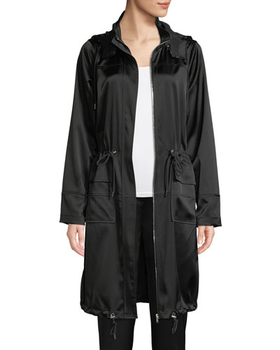Kendra Hooded Satin Coat