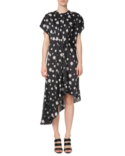 Gathered Rose-Print Asymmetric Midi Dress