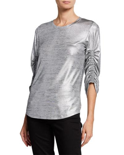 Calisa Ruched-Sleeve Metallic Top