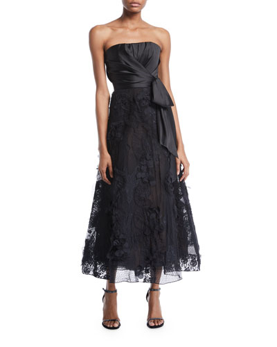 Strapless Tea-Length Bow & Lace Dress
