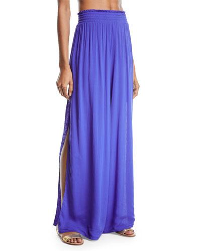 Athena Side-Split Wide-Leg Cotton Pants