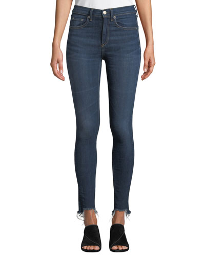 High-Rise Chewed-Hem Ankle Skinny Jeans