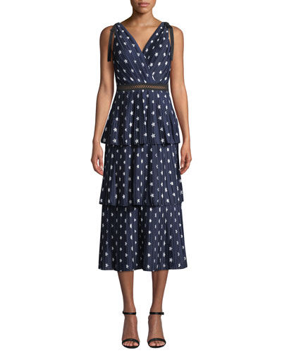 Tiered Star-Print Crepe de Chine Midi Dress
