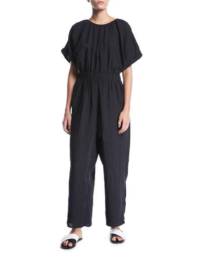 Supai Crewneck Short-Sleeve Wide-Leg Linen Jumpsuit