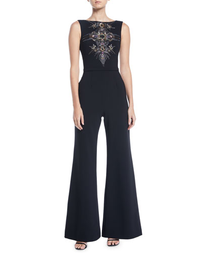 Bateau-Neck Micro-Beaded Jumpsuit