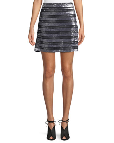 Striped Embellished Silk A-Line Mini Skirt