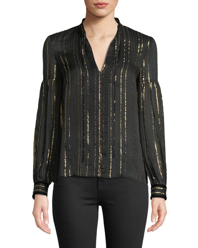 Metallic Tie-Neck Long-Sleeve Silk Blouse