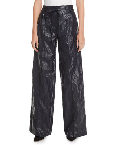 Eve High-Rise Crinkle Wide-Leg Pants
