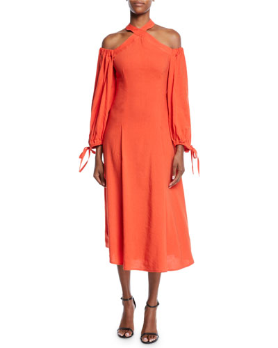 Odella Halter Cold-Shoulder Midi Dress