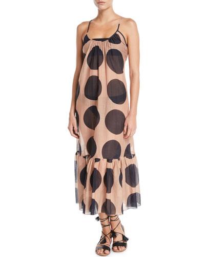 Ballet Dots Flounce Coverup Maxi Dress