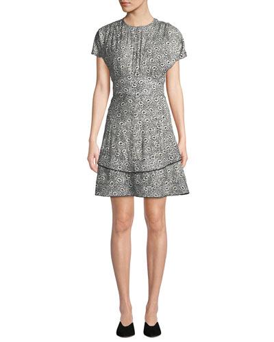 Floral-Print Silk Short-Sleeve Dress