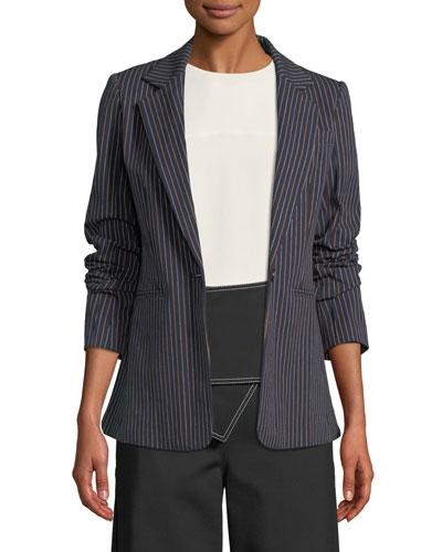 Power Striped Single-Button Blazer