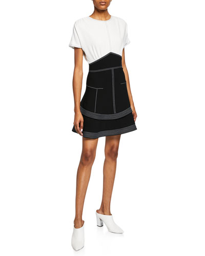 c39feae4d53 Two-Tone Short-Sleeve Tiered Dress Quick Look. Derek Lam 10 Crosby