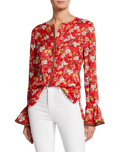 Floral-Print Long-Sleeve Silk Blouse