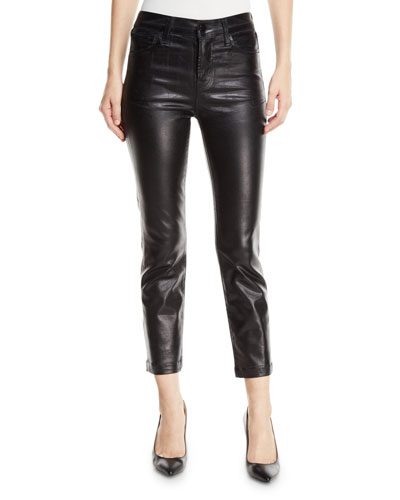 Ruby High-Rise Crop Cigarette Coated Pants