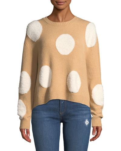 Gleeson Polka-Dot Boxy Long-Sleeve Pullover Sweater