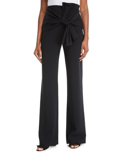 Connor Crepe Tie-Front Wide-Leg Pants