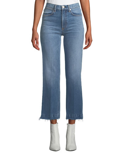 Justine Cropped Frayed Wide-Leg Jeans