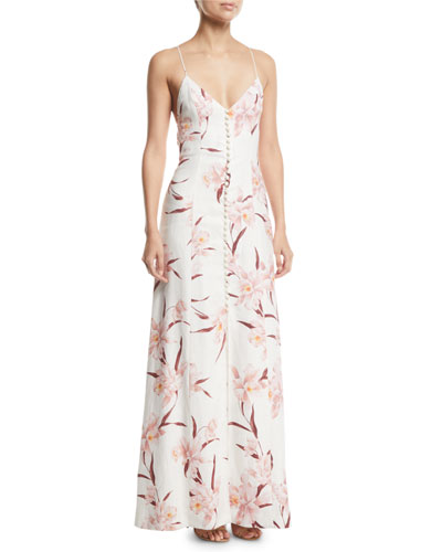 Corsage Floral Strappy-Back Maxi Dress