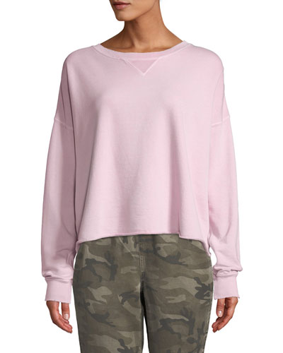 Cropped Raw-Edge Pullover Sweatshirt