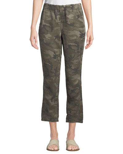 Slouchy Camo-Print Cropped Pants