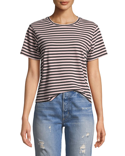 Classic Striped Short-Sleeve Crewneck Tee