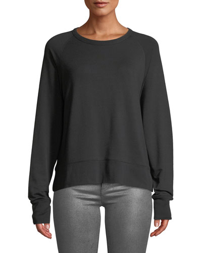 Long-Sleeve Athletic Crewneck Pullover Sweater