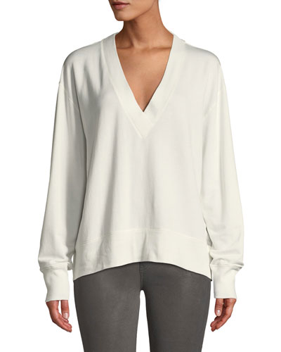 Flora Relaxed V-Neck Pullover Sweater