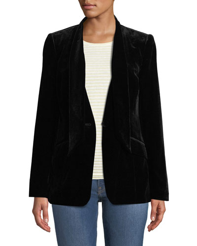 Velvet Tie Single-Button Jacket