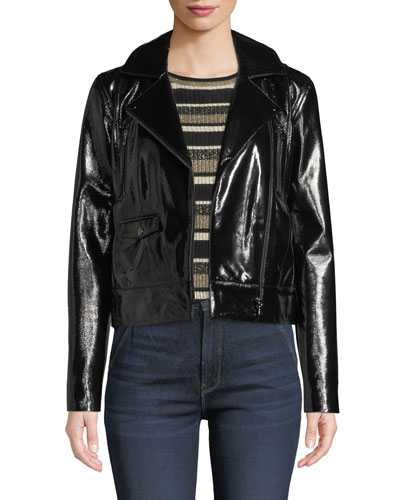 Slick Cropped Leather Moto Jacket