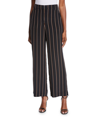 Erso Striped Silk Straight-Leg Pants