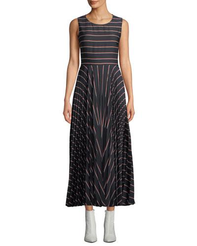 Halle Striped Pleated Open-Back Long Dress