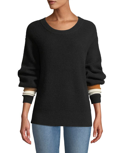 Jasper Colorblock-Cuffs Ribbed Cashmere-Blend Sweater