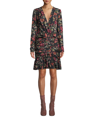 Haven Shirred Floral Silk Cocktail Dress