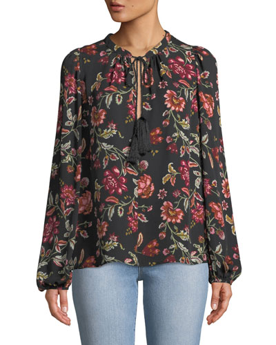 Royan Tie-Neck Long-Sleeve Floral-Print Silk Top