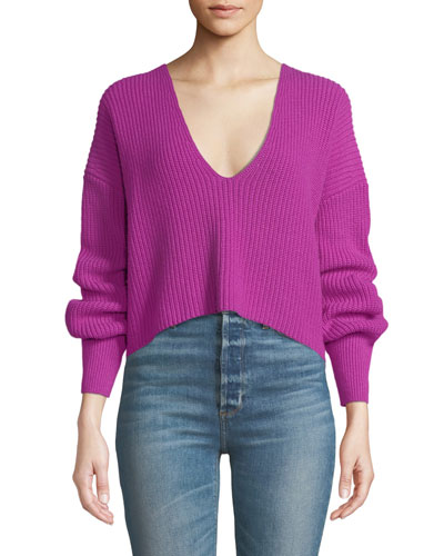Melanie Wool V-Neck Cropped Sweater