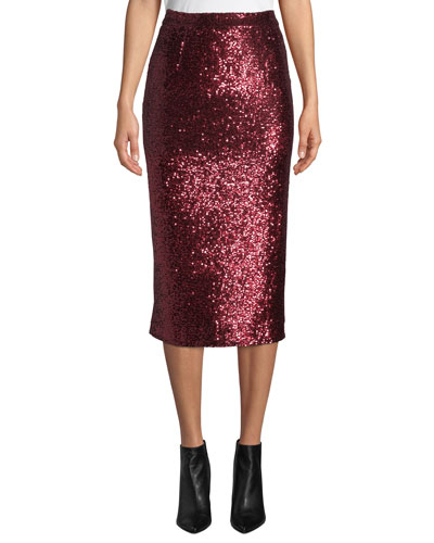 Val Sequined Pencil Skirt