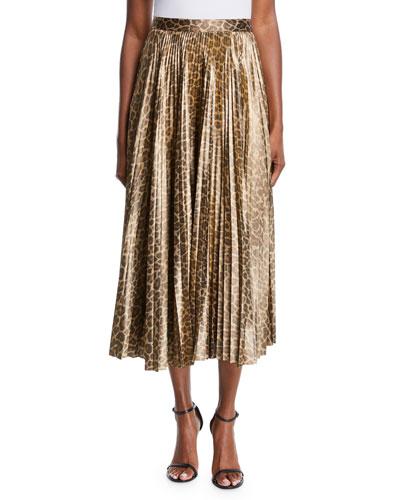 a2d42cb64dad Bobby Leopard-Print Pleated Midi Skirt