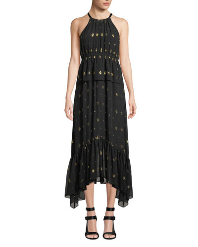 Rosa High-Neck Metallic Long Dress