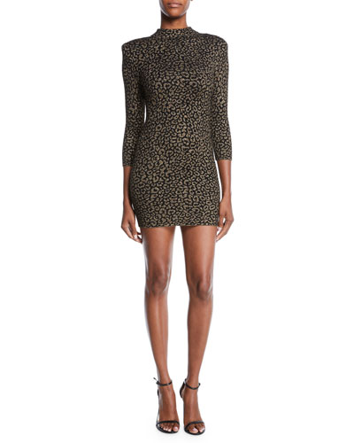 Mahry Fitted Metallic Animal-Print Short Dress