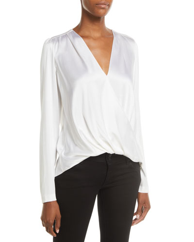 Harmon Draped Long-Sleeve Silk Top